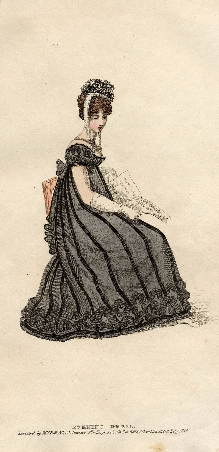 "Lady reading sheet music in black evening dress, probably a mourning dress for evening. ""Invented by Mrs. Ball, 52 St. James St. Engraved for Les Belle Assemblee, No. 119, Feby 1819."" La Belle Assemblée (in full La Belle Assemblée or, Bell's Court and Fashionable Magazine Addressed Particularly to the Ladies) was a British women's magazine published from 1806 to 1837, founded by John Bell (1745–1831)."