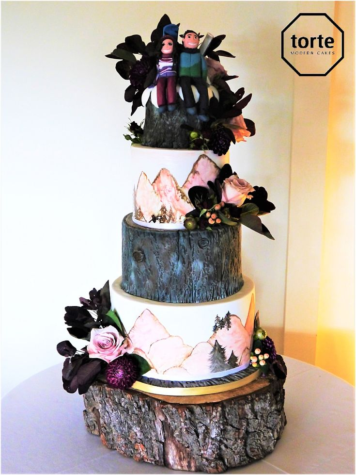 99 best wedding cakes images on pinterest blush oak wedding cake with hand painted mountain scenes and dusted dark oak tiers junglespirit Choice Image