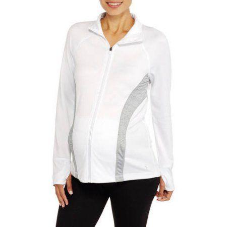 Danskin Now Maternity Zip-Up Performance Jacket, Size: Medium, White