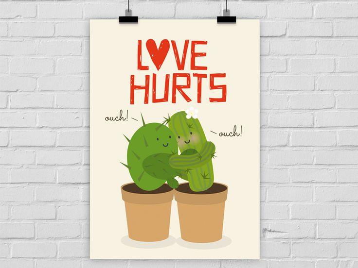 Kunstdruck LOVE HURTS von Prints Eisenherz auf DaWanda.com