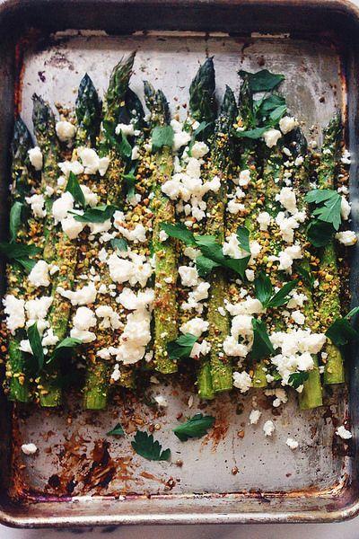 Pistachio Crusted Asparagus With Feta | Joy the Baker
