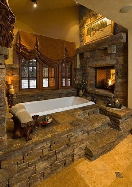 Fireplace big tub candle lights...my country home will have this :-)