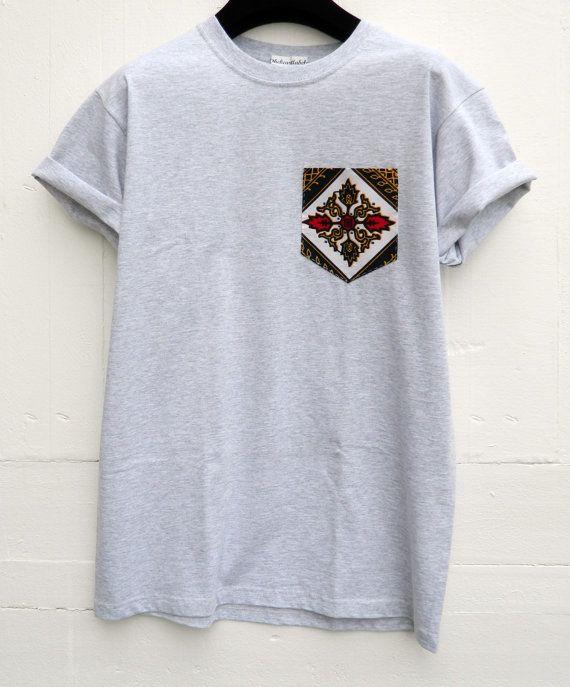 Men's African Print Pattern Grey Pocket T-Shirt by HeartLabelTees