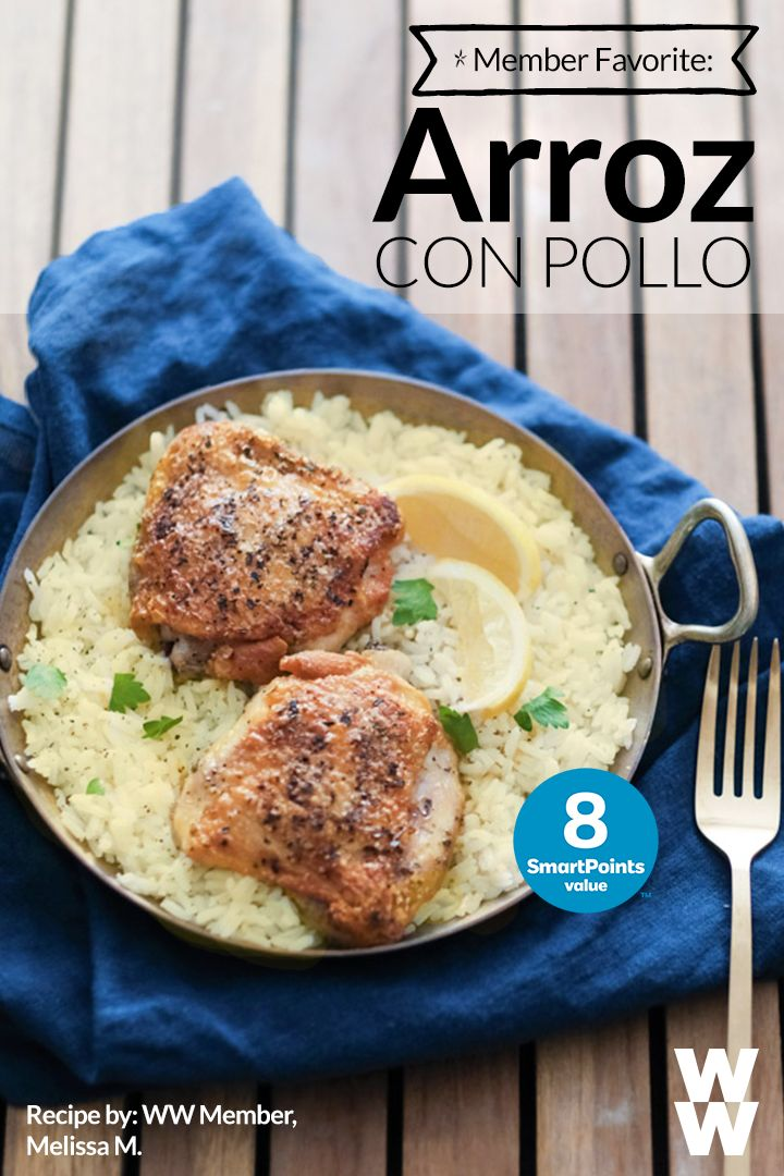 """""""My favorite dinner: Arroz con Pollo- (chicken and rice, Latin style!)"""" – Weight Watchers Member Melissa.   To make: steam rice in the rice cooker (6 SmartPoints for 1 cup of rice.) Season rice with salt. Cook chicken using 1 spray of olive oil cooking spritzer. Then, season the chicken with a pinch of salt, pepper, fresh garlic, oregano, a drop of lemon, and a boatload of LOVE!   Tap to get the recipes for more delicious meals like this!"""
