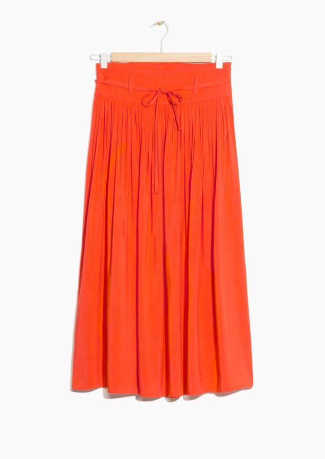 6b5e236bfec   Other Stories image 2 of High Waist Pleated Skirt in Orange