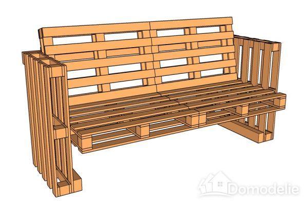 Простая и оригинальная скамейка из поддонов (чертеж и описание)