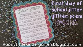 "Glitter Jitter: the night before the first day of school poem to help ease your students' ""jitters"". So cute! Oh and FREE"