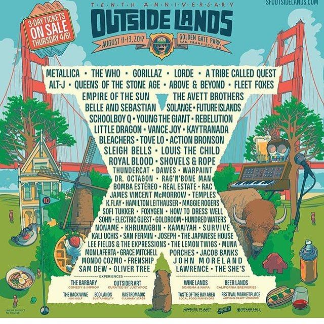 Catch me Outside how bout dat?  In case you didn't know lineup is looking good like always. See y'all there!  #outsidelands #2017 #sf #norcal #beerlife #california #calilife #bayarea #watsonville #montereybay #monterey #santacruz #truetothis #montereylocals - posted by Mikey Dread https://www.instagram.com/mangovicious. See more of Monterey Bay at http://montereylocals.com