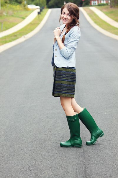 Blue and green... Hunter Boots How To Wear Hunter Boots ...