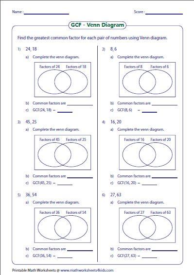 Highest Common Factor Venn Diagram Worksheet Circuit Connection