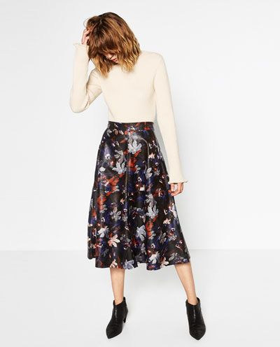 PRINTED LEATHER EFFECT SKIRT-View all-SKIRTS-WOMAN | ZARA United States