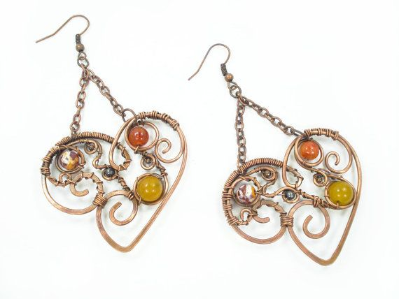 Hey, I found this really awesome Etsy listing at https://www.etsy.com/listing/222542342/wire-wrapped-heart-earrings-yellow