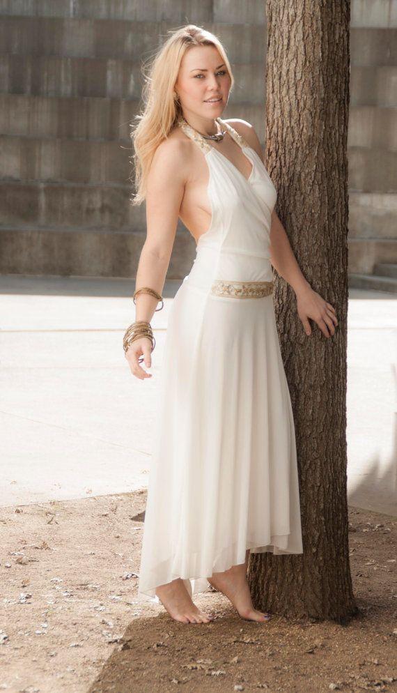 Vintage white boho wedding dress greek goddess halter for Greek goddess wedding dresses