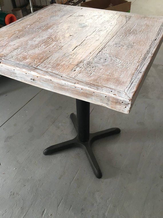 Reclaimed Wood White Weathered Table Top Bar