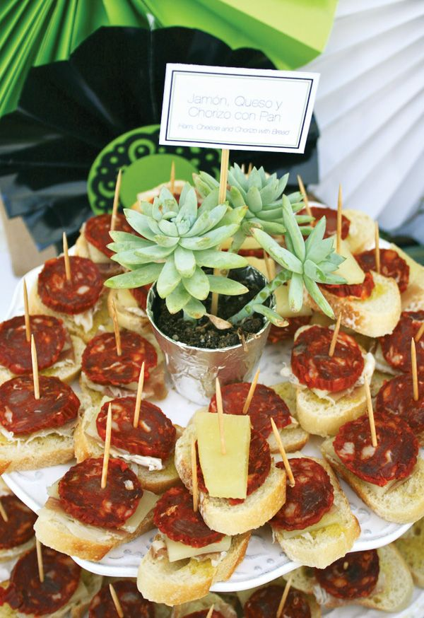 Love the mini succulent pots for food labels. (And also love tapas, of course!)