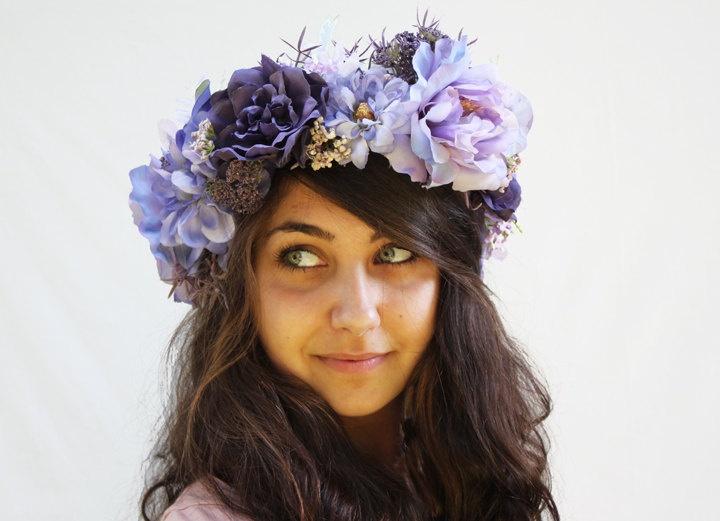 Flower Crown Lavender Purple Floral Head Wreath Fairy