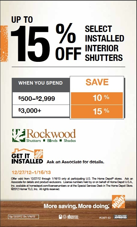 New Shutters For New Year! Save Up To Off Select Installed Interior Shutters  From Rockwood Shutters At Depot