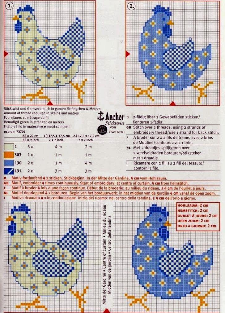 """Милые сердцу штучки: Пасхальная вышивка : """"Петухи и куры"""" (подборка схем)"""