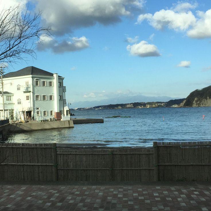 I can't find any windsurfers in the calm sea. Abuzuri, Hayama, Kanagawa, Japan in December 2015.