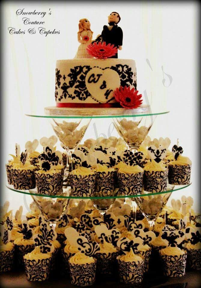 Black & white Damask focus cake and cupcake tower