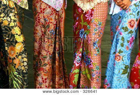 Sarong kebaya, a traditional nyonya and malay dress in batik motifs.