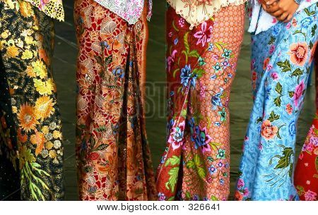 JP: Sarong kebaya, a traditional nyonya and malay dress in batik motifs.