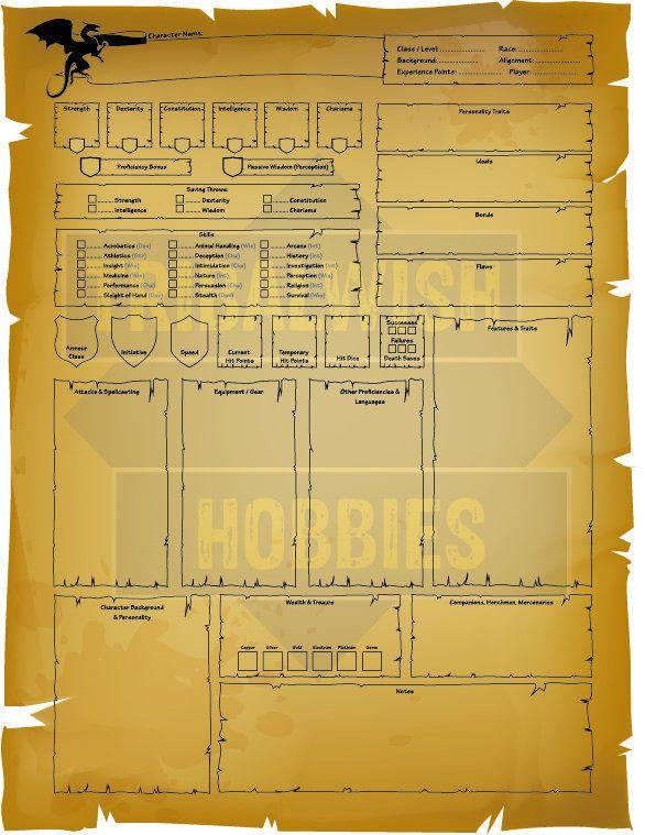 Dungeons & Dragons Character Sheet, Printable Digital