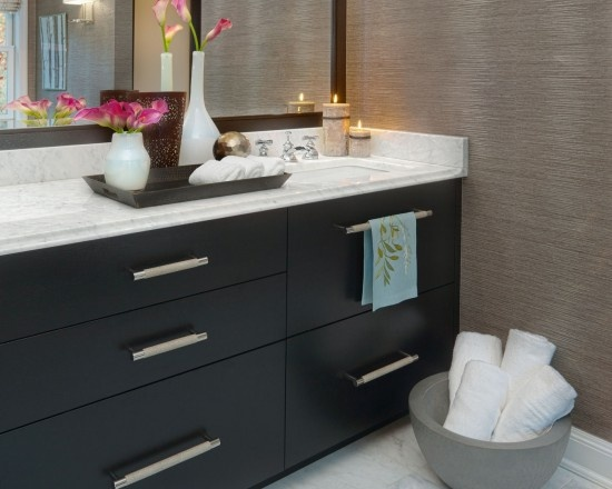 Bamboo Grasscloth Wallpaper Small Bathroom Bathroom Pinterest Vases Drawers And The Cabinet
