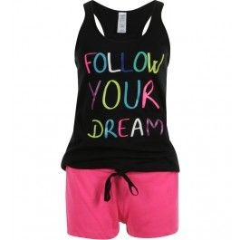 pyjama, débardeur, dos nageur, print fluo follow your dream, short fluo, cordon à la taille