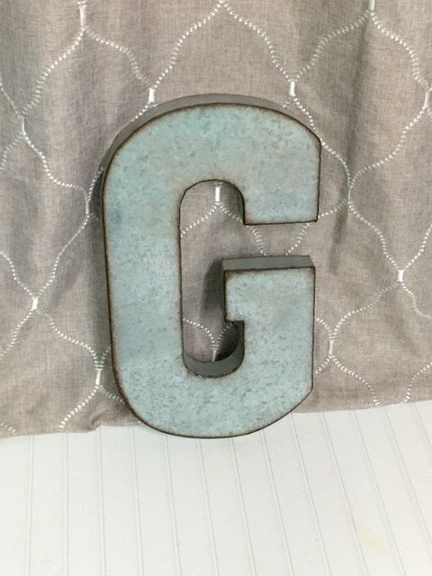 Large Metal Letter G/ Galvanized Metal Wall by TheShabbyStore