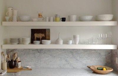 marble return splash and open shelves