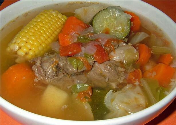 Sopa de Res: Beef soup. All ingredients can be seen clearly.