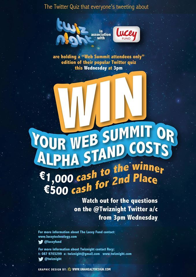 Original Leaflet Design for Twiznight Quiz from web summit in Dublin