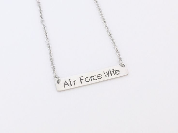 Air Force Wife Necklace,Proud Air Force Wife Necklace,Air Force Girlfriend Necklace,Air Force Mom Necklace,Military Wife Gift,Gift For Her by CharmedMetals on Etsy