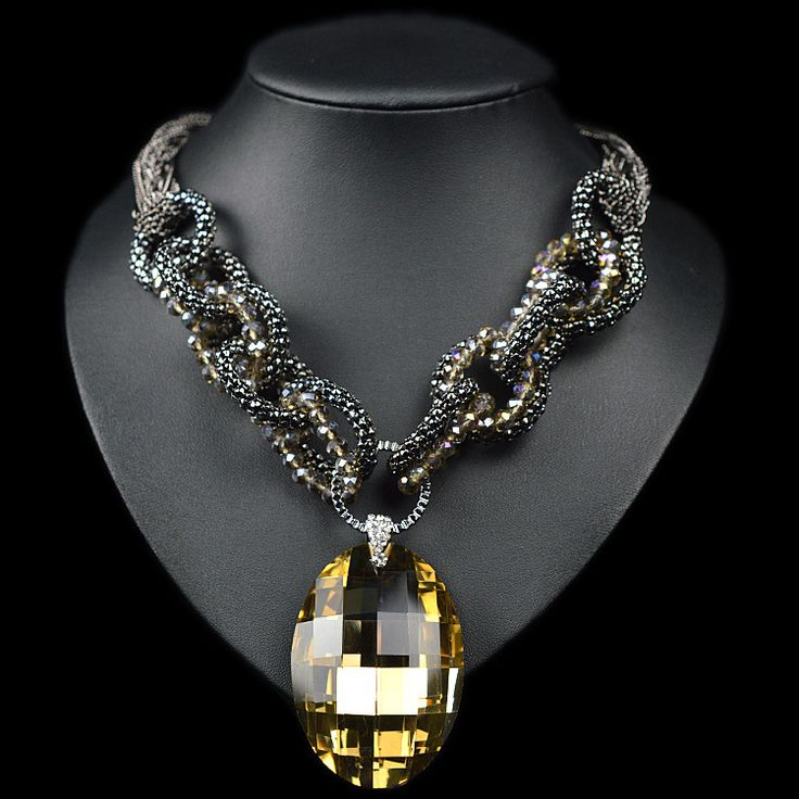 JC shourouk High quality ZA Brand Necklace Fashion Vintage Flower Necklaces & Pendants Crystal Choker Statement Necklace