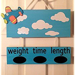 Personalized Hospital Door Hanger Announcement for baby boy or girl Airplane Aviation