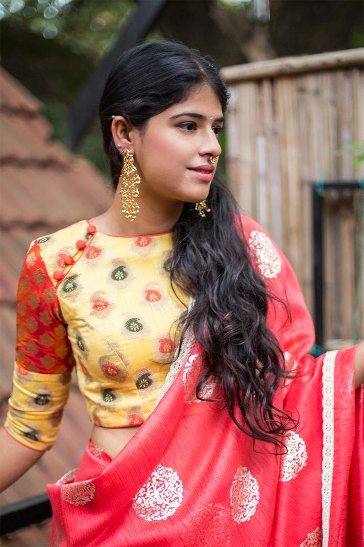 Yellow high U neck blouse with shibori silk sleeve #blouse #houseofblouse