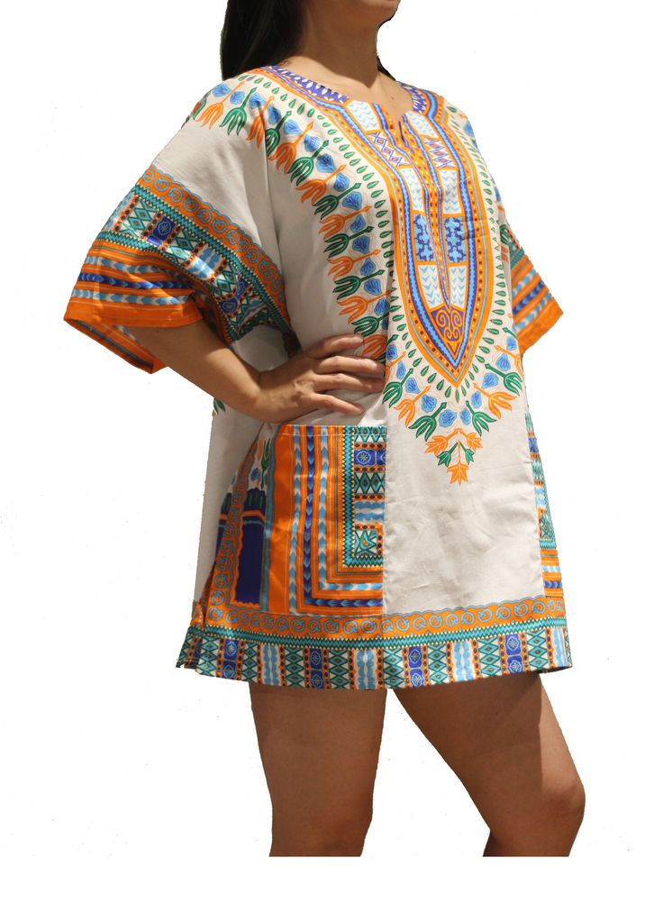 African Dashiki Shirt - White & Orange - One Size Fit XS to XL