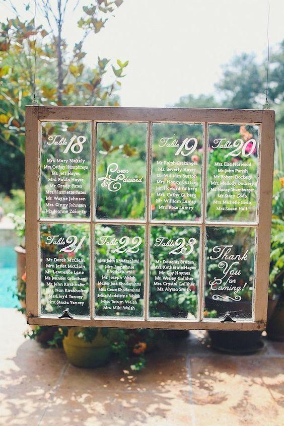 Window Wedding Seating Chart