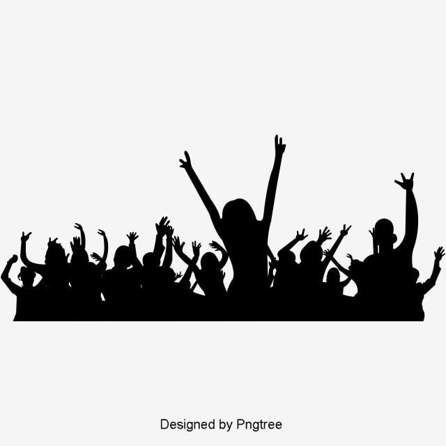 Simple Black Cheering Crowd Party Prom Dance Disco Nightclub Bar Decoration Elements Silhouette Vector Party Vec Silhouette Font Illustration Silhouette Vector