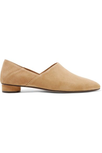 The Row - Noelle Collapsible-heel Suede Loafers - Neutral