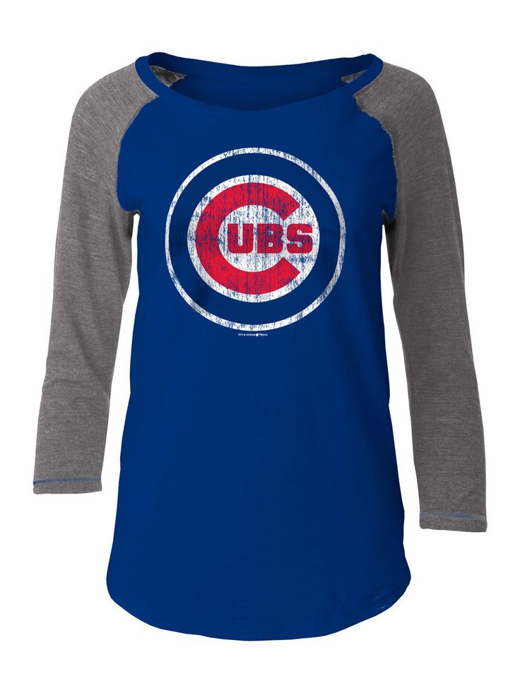 Chicago Cubs Women's Burnout Flower 3/4-Sleeve Raglan T-Shirt by 5th and Ocean  #ChicagoCubs #Cubs #FlyTheW