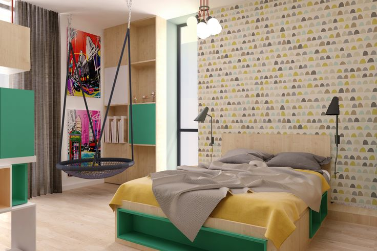 #boysbedroom #childrenfurniture #green  #grey #shelves #wood#green #ceilinglamp #wood #ambientallight #swing #wallprint