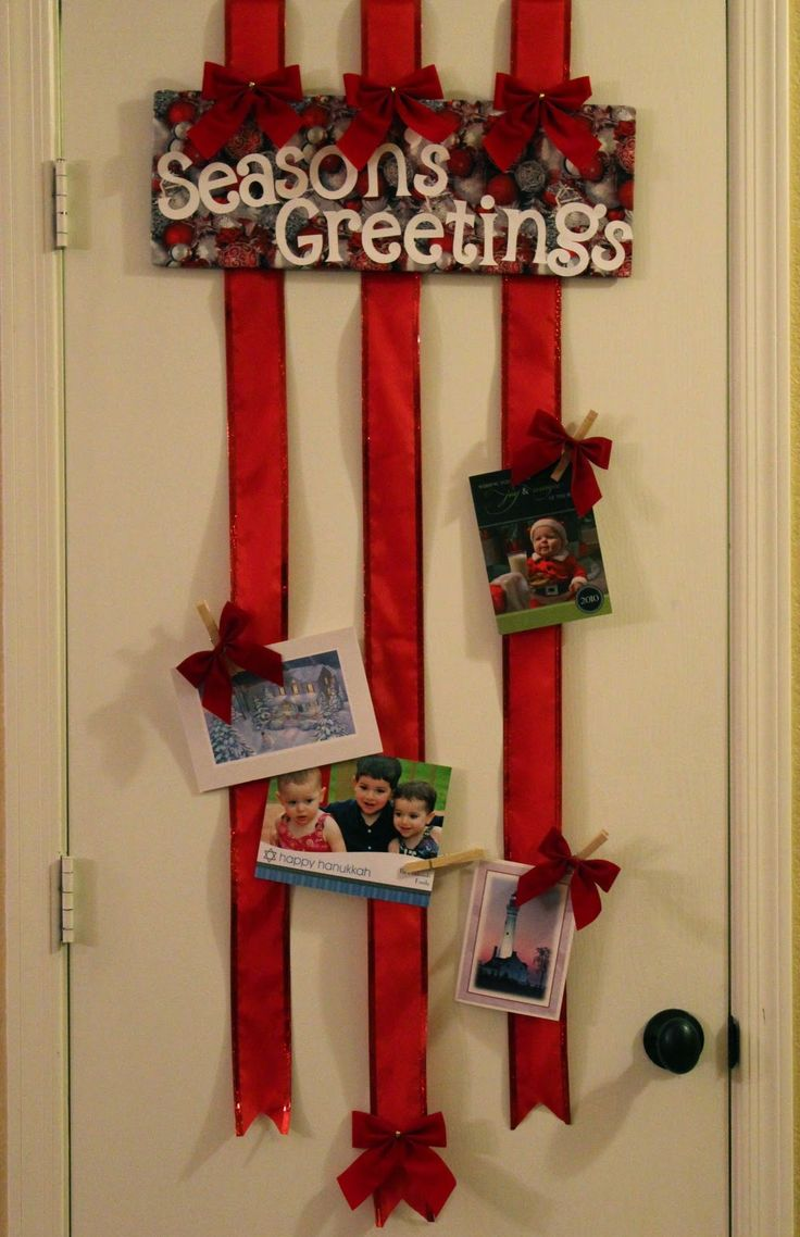 Over the door ribbon christmas card holder no sticking to for Door xmas card holders
