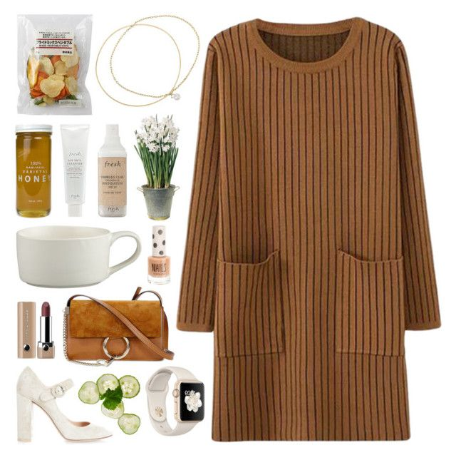 """""""Don't Go Anywhere"""" by batmancrazy ❤ liked on Polyvore featuring Inez & Vinoodh, Bee Raw Honey, Fresh, Crate and Barrel, BULB, Chloé, Marc Jacobs, Gianvito Rossi and Topshop"""