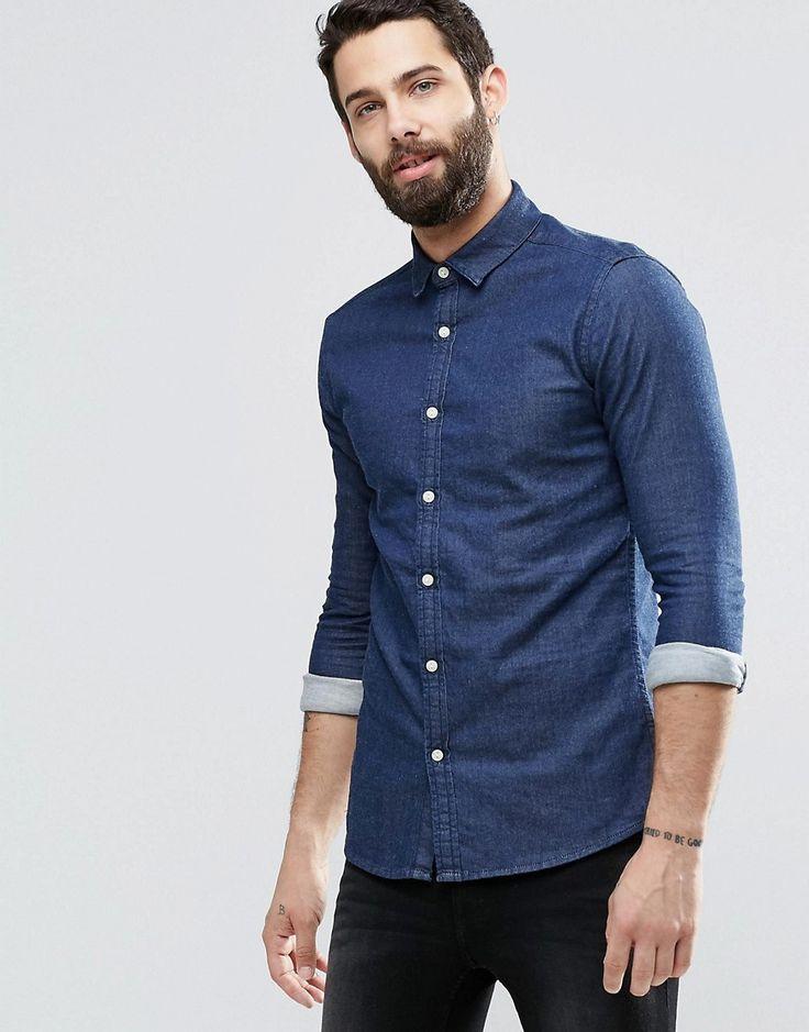 Image 1 ofASOS Skinny Denim Shirt With Long Sleeves In Rinse Wash