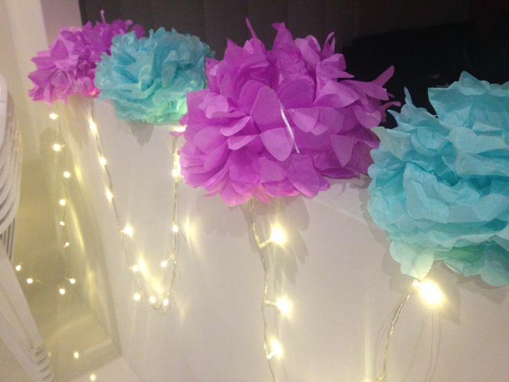 Fairy lights and pom poms