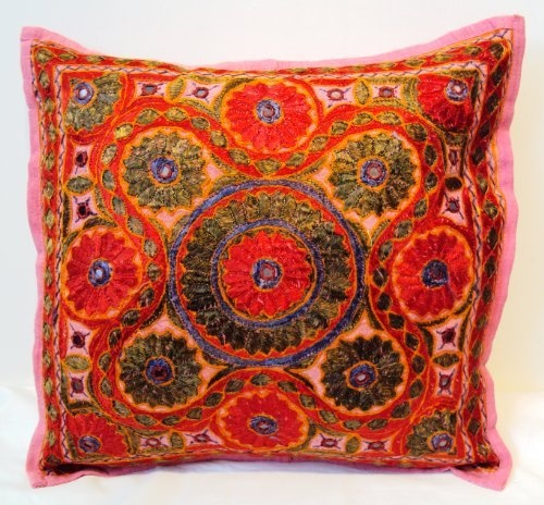 16 Mirror Coloured Embroidery Cotton Cushion Cover Pink  Price : £6.99 http://www.designsemporium.com/Mirror-Coloured-Embroidery-Cotton-Cushion/dp/B00CDPNZUM