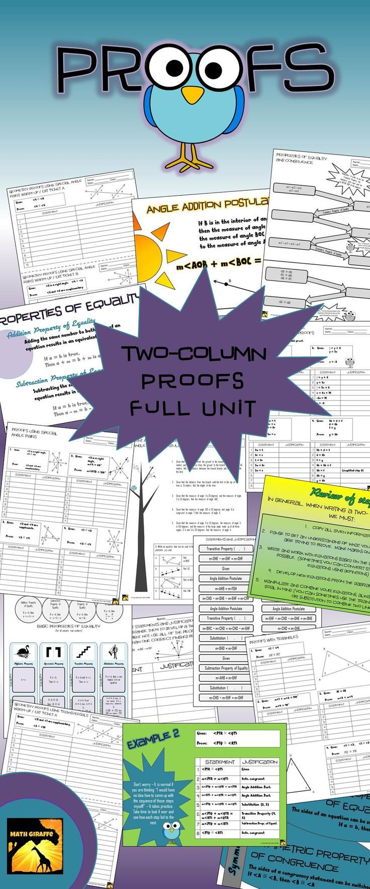 Geometry Proofs from the very beginning - guided unit plan: over 100 pages with answer keys - includes presentation and tons of printables