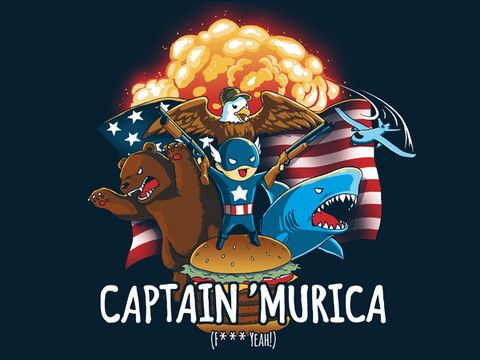 CAPTAIN 'MURICA superhero shirt from TeeTurtle. On special debut sale for $15 through 3/27!